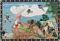 Ravana's son Indrajit is attacking Rama and Lakshmana with arrows that transform into snakes.jpg