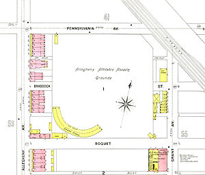 Recreation Park (Pittsburgh) - Recreation Park on 1893 map