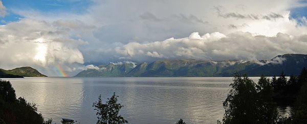 Rainbow over Sognefjord