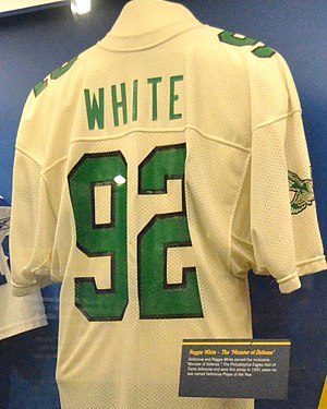 Reggie White - White jersey shown at Pro Football Hall of Fame in Canton, Ohio
