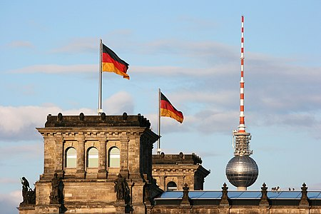television tower and Reichstag in Berlin, Germany