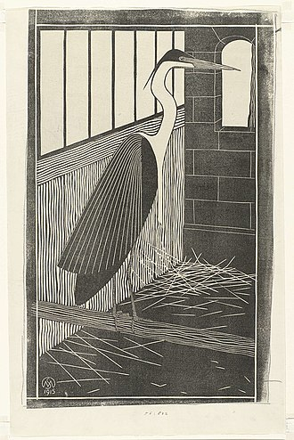 Samuel Jessurun de Mesquita - Heron in a cage (1915) by Samuel Jessurun de Mesquita