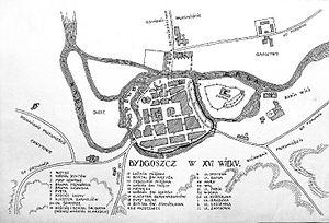 Mill Island in Bydgoszcz - Estimated footprint of Bydgoszcz in 16th century