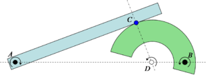 Instant centre of rotation - Sketch 4: Example relative centre of rotation. Two bodies in contact at C, one rotating about A and the other about B must have a relative centre of rotation somewhere along the line AB. Since the parts cannot interpenetrate the relative rotation centre must also be along the normal direction to the contact and through C. The only possible solution is if the relative centre is at D.