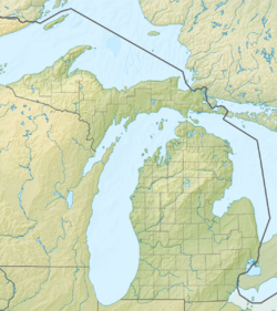 Location of Thunder Bay in Michigan, USA.