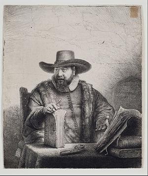 Cornelis Claesz Anslo - Etched portrait by Rembrandt.