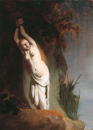 Damsel in distress - Rembrandt's Andromeda chained to the rock – a late-Renaissance damsel in distress from Greek mythology.