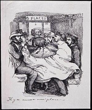 1860 in Sweden - Resande i en tågkupé. Fritz von Dardel - Nordiska Museet - NMA.0037679