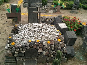 San Andrés Mixquic - Real human bones from the past decorated for Day of the Dead at the former monastery