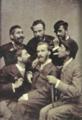 Retrato de grupo com António Ramalho, Brak-Lamy, Columbano Bordalo Pinheiro, Bettencourt Rodrigues, Raoul Mesnier du Ponsard, e Mariano Pina (1882) - Museu do Chiado, inv. 3531.png
