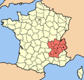 Rhones Alpes region with Ardeche, Drome, Isere and Savoie highlighted.png