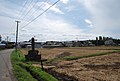 Rice field and stone monument in Aizuwakamatsu, Fukushima - Oct 12, 2008.jpg