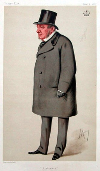 Richard Lyons, 1st Viscount Lyons - Richard Lyons, 1st Viscount Lyons caricature in Vanity Fair (April 6, 1878). Lyons's diplomatic influence is demonstrated by the subtitle used instead of his name: 'Diplomacy'.