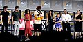 Richard Madden, Kumail Nanjiani, Lauren Ridloff, Brian Tyree Henry, Salma Hayek, Lia McHugh, Don Lee & Angelina Jolie (cropped).jpg