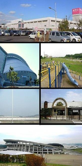 Rifu - 1=Aeon Rifu, 2=Miyagi Athletic Park Gymnasium, Kaseinuma Park, 3=Shinkansen Maintenance Center, Rifu Station, 4=Miyagi Stadium