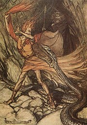 Loge feigns fear as Alberich turns into a giant snake. Wotan stands in the background; illustration by Arthur Rackham to Richard Wagner's Das Rheingold