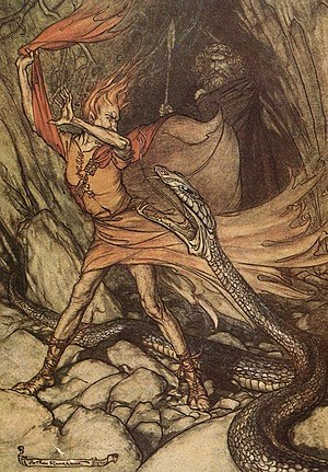Shapeshifting - Loge feigns fear as Alberich turns into a giant snake. Wotan stands in the background; illustration by Arthur Rackham to Richard Wagner's Das Rheingold