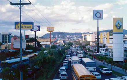 Rush hour on Central America Blvd as viewed northbound from the Plaza Miraflores pedestrian bridge Ring road Tegucigalpa Honduras.jpg