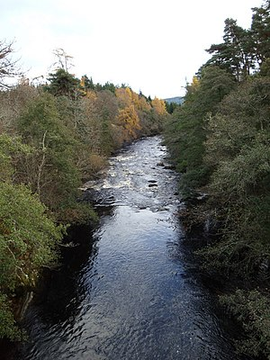 River Dulnain downstream of the bridge in Dulnain Bridge. - geograph.org.uk - 1192730.jpg