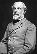 Photo of white-haired and bearded Robert E. Lee in a double breasted gray uniform with three stars on his collar