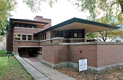 Robie House, designed by Frank Lloyd Wright.
