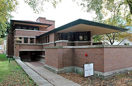The Robie House, designed by Frank Lloyd Wright, is an example of a property listed by means of criterion C. Robie House.jpg
