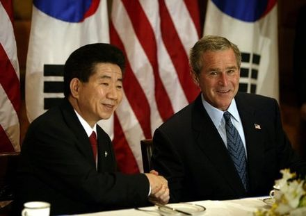 President Roh and Bush in October 2003 Roh and Bush October 2003.jpg