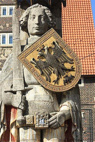Roland (statue) - The Bremen Roland, erected in 1404, forms part of a World Heritage Site