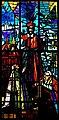 Roma, chiesa di San Gregorio Barbarigo - Vetrata con i santi Gregorio Barbarigo, Giovanni XXIII e Paolo VI.jpg
