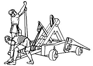 War against Nabis - This small siege engine, called onager, was cheaper and simpler to construct than a ballista. The application was like that of a lithobolos (the stone throwing version of a ballista), but shots were less precise. However, stones were hurled at the battlements to destroy them and the defending force before the walls were assaulted.