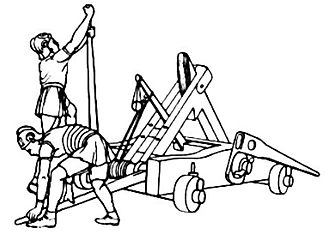 Roman siege engines - Sketch of an Onager, from Antique technology by Diels