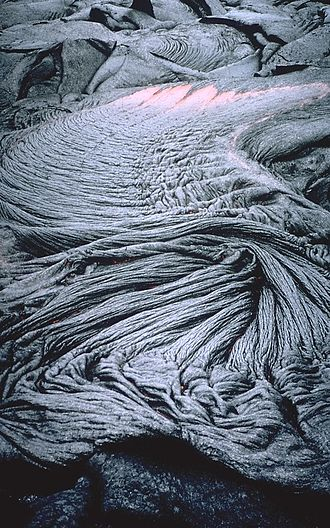 Types of volcanic eruptions - Ropey pahoehoe lava from Kilauea, Hawai{{okina}}i.