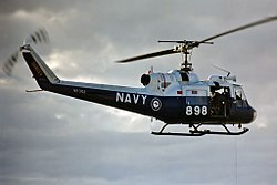 Royal Australian Navy (RAN) Bell UH-1B Huey VH-NVV (ex N9-3104) hovering at Naval Air Station Nowra (YSNW).jpg