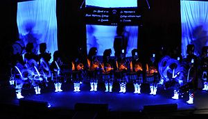 Royal Military College of Canada Bands - Royal Military College of Canada band drum line black lights