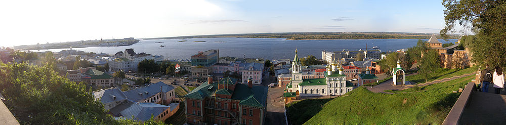 View as seen to Rozhdestvenskaya st., Nizhny Novgorod Kremlin, Church of St John the Baptist and the Spit