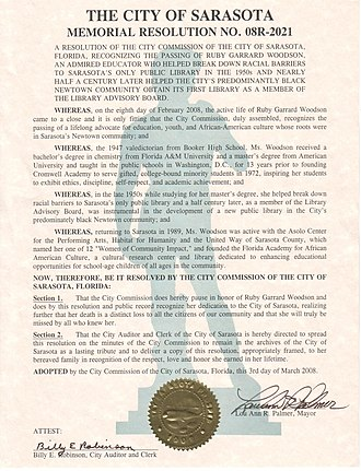 Ruby G. Woodson - Memorial resolution honoring the contributions and achievements of Ruby Garrard Woodson