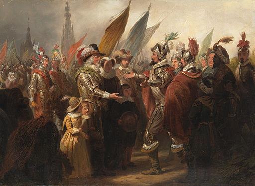 SA 5052-Anno 1625. Spinola wenst de Nederlandse krijgsoversten na de inneming van Breda geluk met hun kloekheid