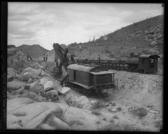 Steam shovel - A steam shovel excavating for the San Diego and Arizona Railway line, circa 1919.