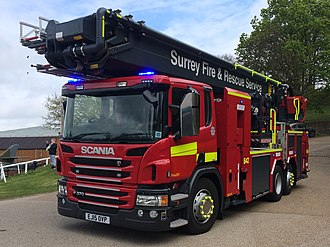 Surrey Fire and Rescue Service - Surrey's 2015 registered Aerial Ladder Platform