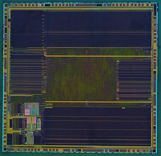 ARM architecture - Die of a STM32F103VGT6 ARM Cortex-M3 microcontroller with 1 MB flash memory by STMicroelectronics