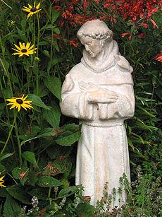 Saint Francis statue in garden