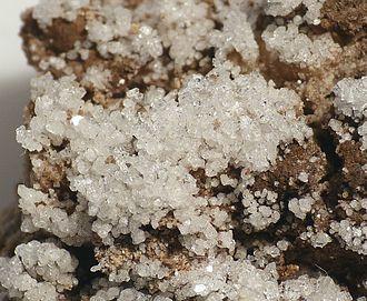 Salammoniac - Sal ammoniac crystals from a mine in Eisden, Maasmechelen, Limburg, Belgium (field of vision: 1.5 cm)