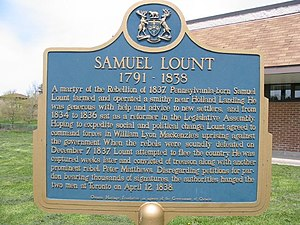 Samuel Lount - Historical plaque to Sam Lount at Holland Landing, Ontario