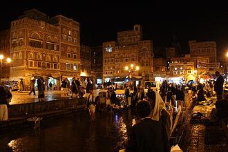 Sanaʽa - Night streetscene in Sanaʽa, Yemen
