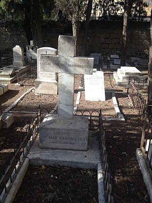 Max Sandreczky - Grave of Sandreczky in the Protestant Mount Zion Cemetery, Jerusalem