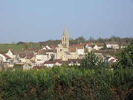 A general view of Santeuil, with the church and surrounding buildings
