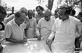 Saroj Ghose Explaining Science City Project To Prasanta Chatterjee - Meeting Between CMC And NCSM Officers - Science City Site - Dhapa - Calcutta 1993-04-22 0591.JPG
