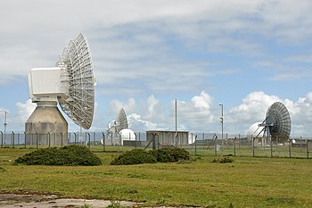 Some of the satellite dishes at GCHQ Bude, in ...