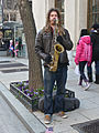 Saxophone player with light brown dreadlocks at Inauguration 2013.jpg