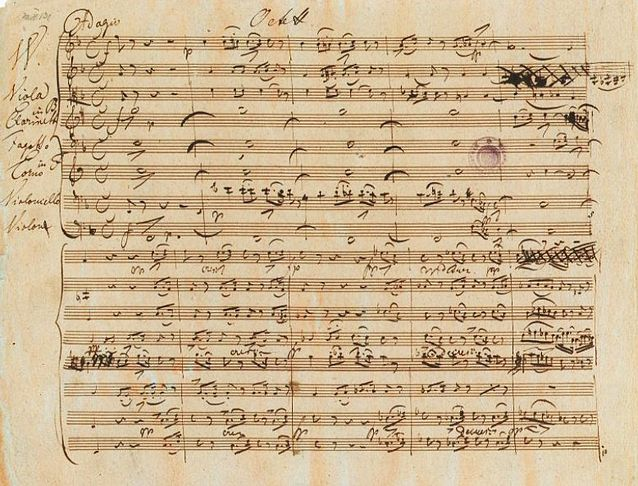 Schubert's autograph of the Octet in F major, D 803 Schubert octet Autograph.jpg
